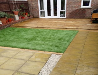After Photo of the New Decking, Patio, Artificial Grass and Veg Patch