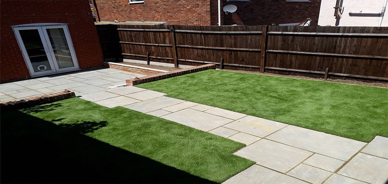 New Patio, Path, Flower Bed Brick Wall And Artificial Grass U2013 Burgess Hill